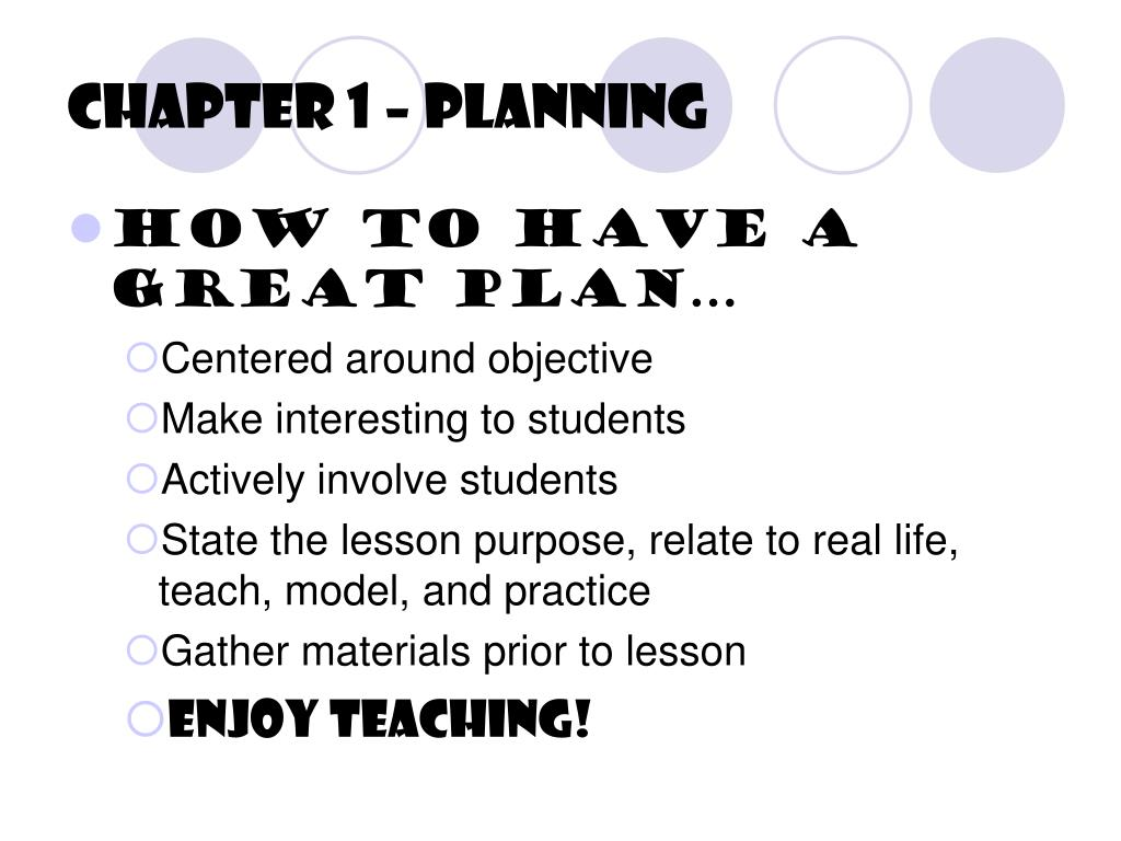 Chapter 1 – Planning