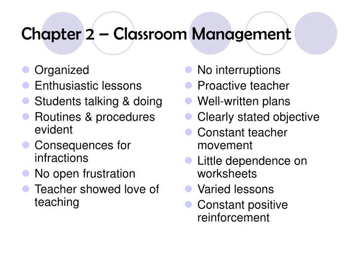 Chapter 2 classroom management