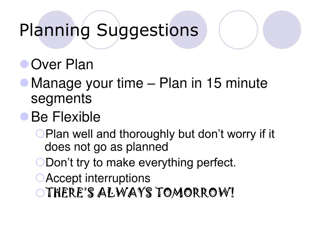 Planning Suggestions