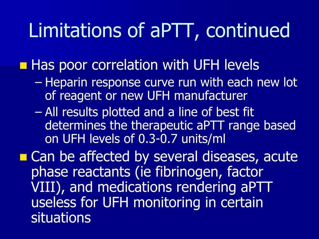 Limitations of aPTT, continued