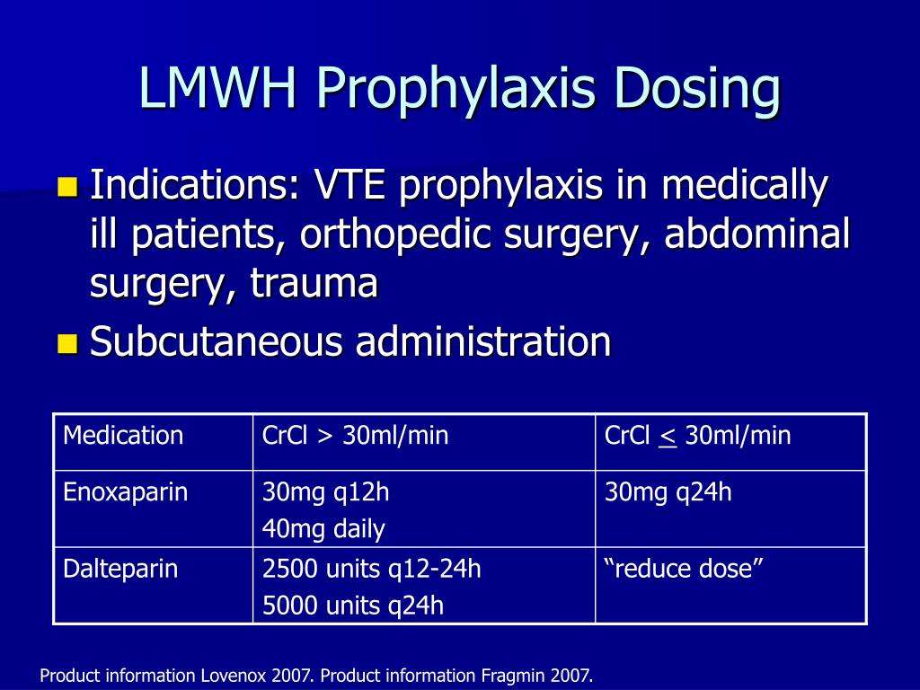 LMWH Prophylaxis Dosing