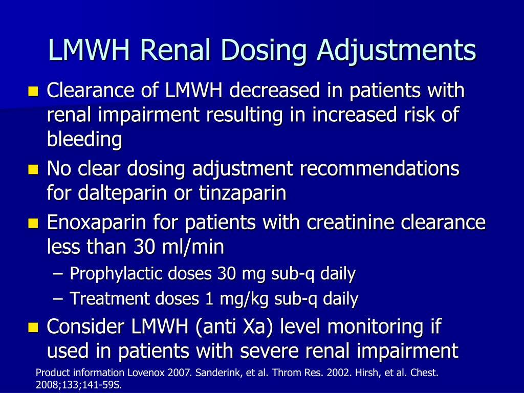 LMWH Renal Dosing Adjustments