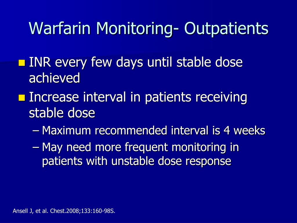 Warfarin Monitoring- Outpatients