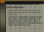 what was learned from the pilot programs15