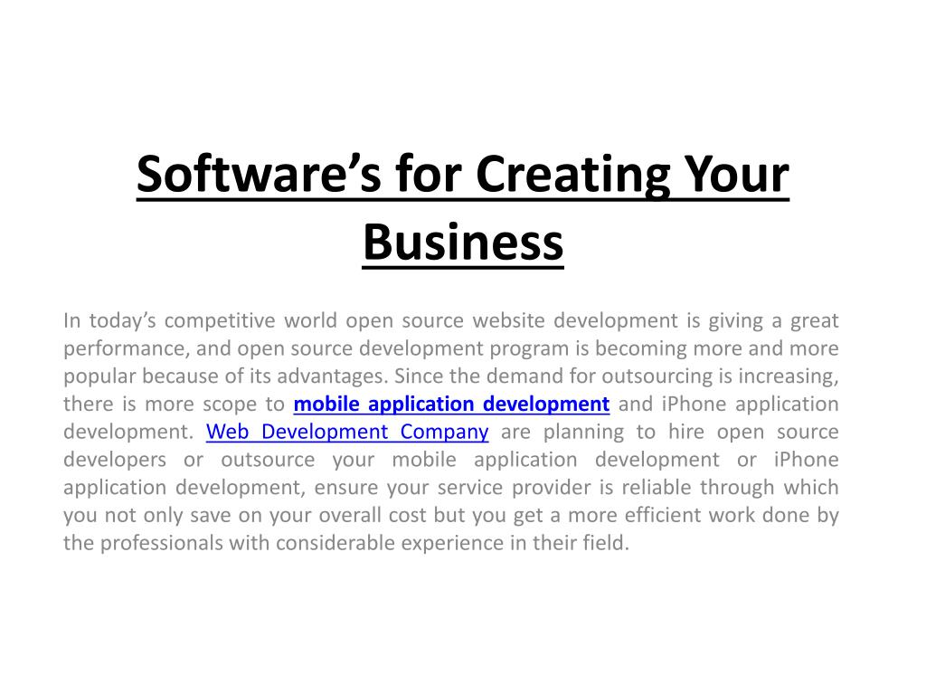 software s for creating your business