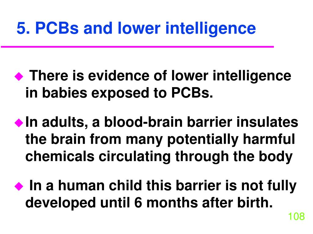 5. PCBs and lower intelligence