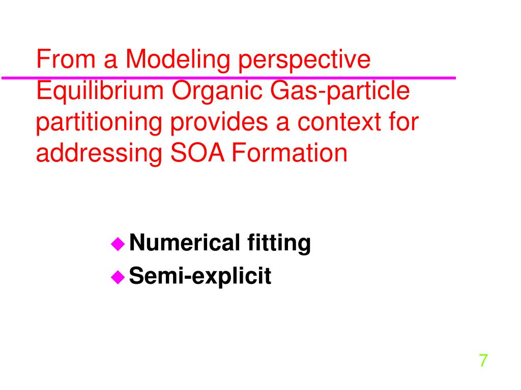 From a Modeling perspective  Equilibrium Organic Gas-particle partitioning provides a context for addressing SOA Formation
