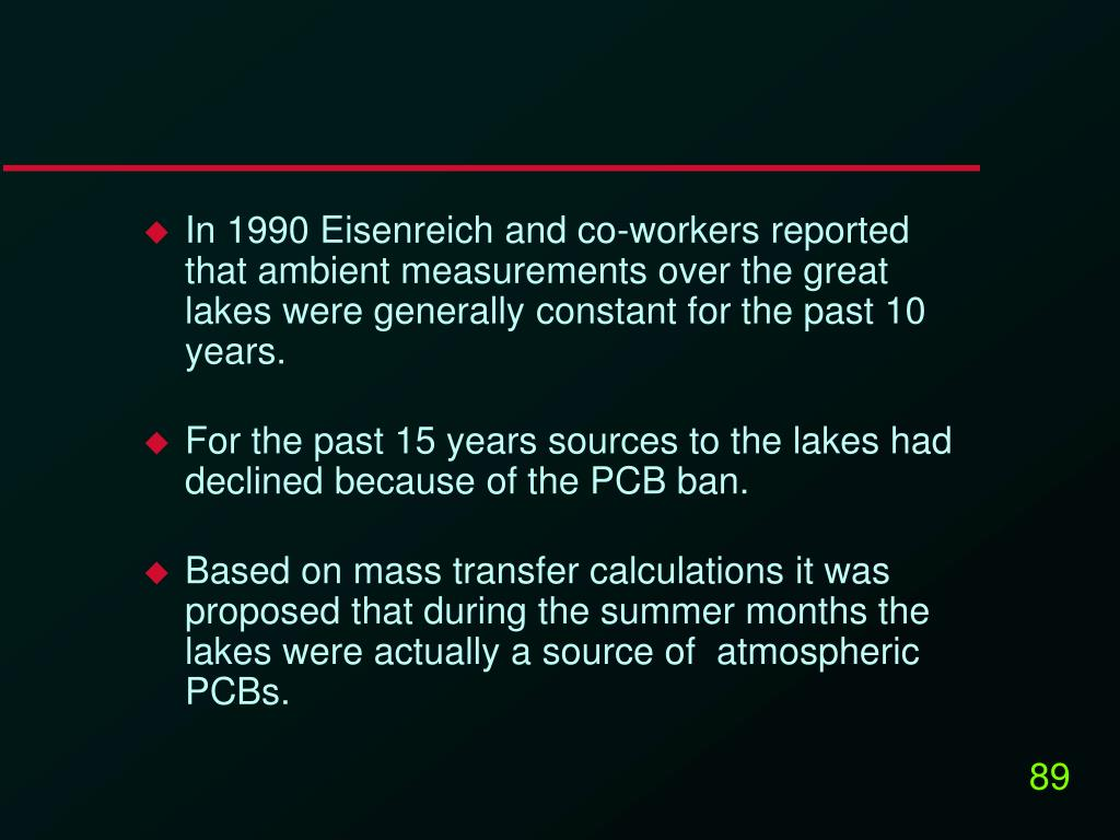 In 1990 Eisenreich and co-workers reported that ambient measurements over the great lakes were generally constant for the past 10 years.