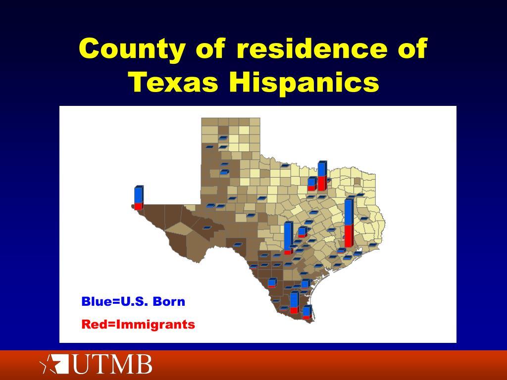 County of residence of Texas Hispanics