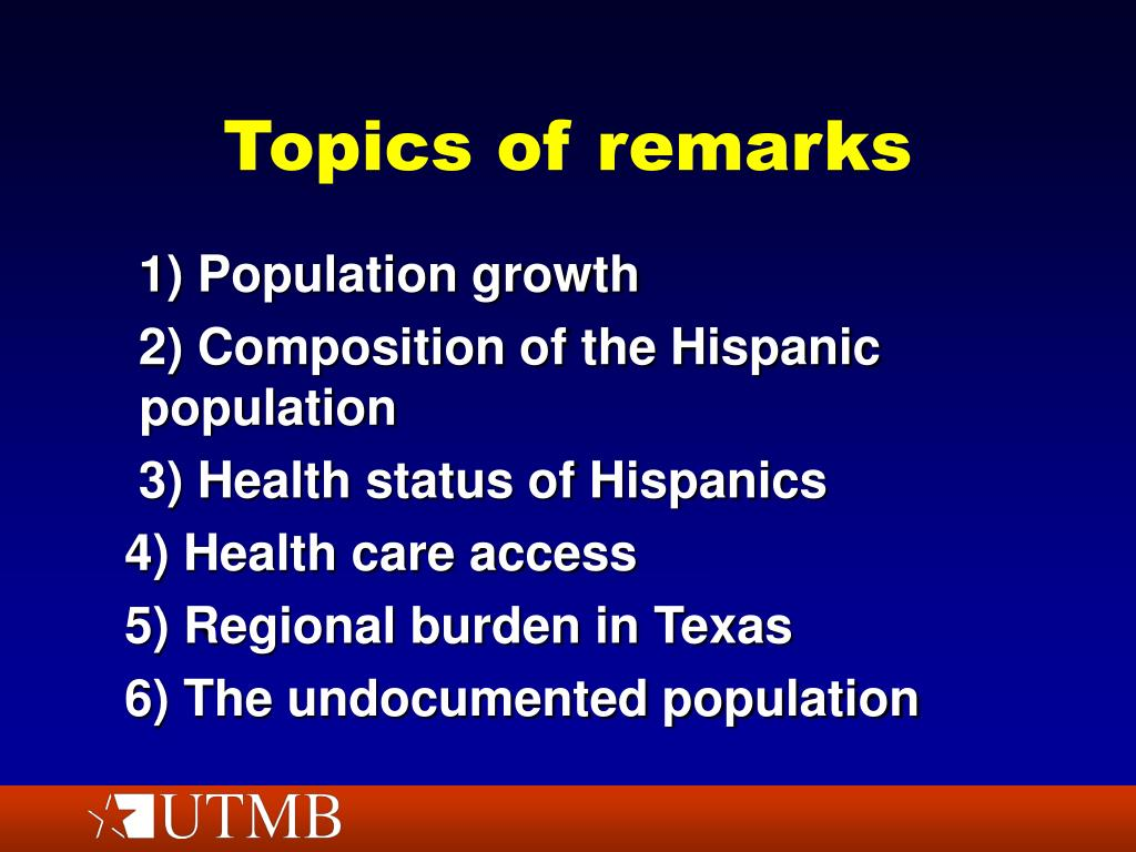Topics of remarks