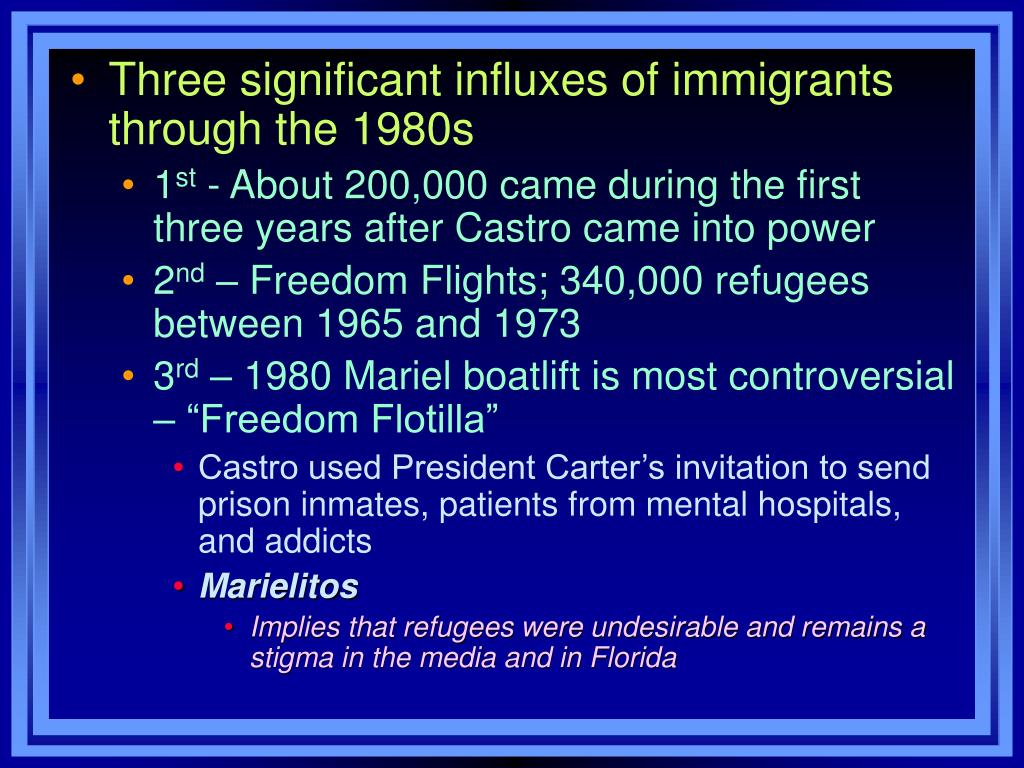 Three significant influxes of immigrants through the 1980s