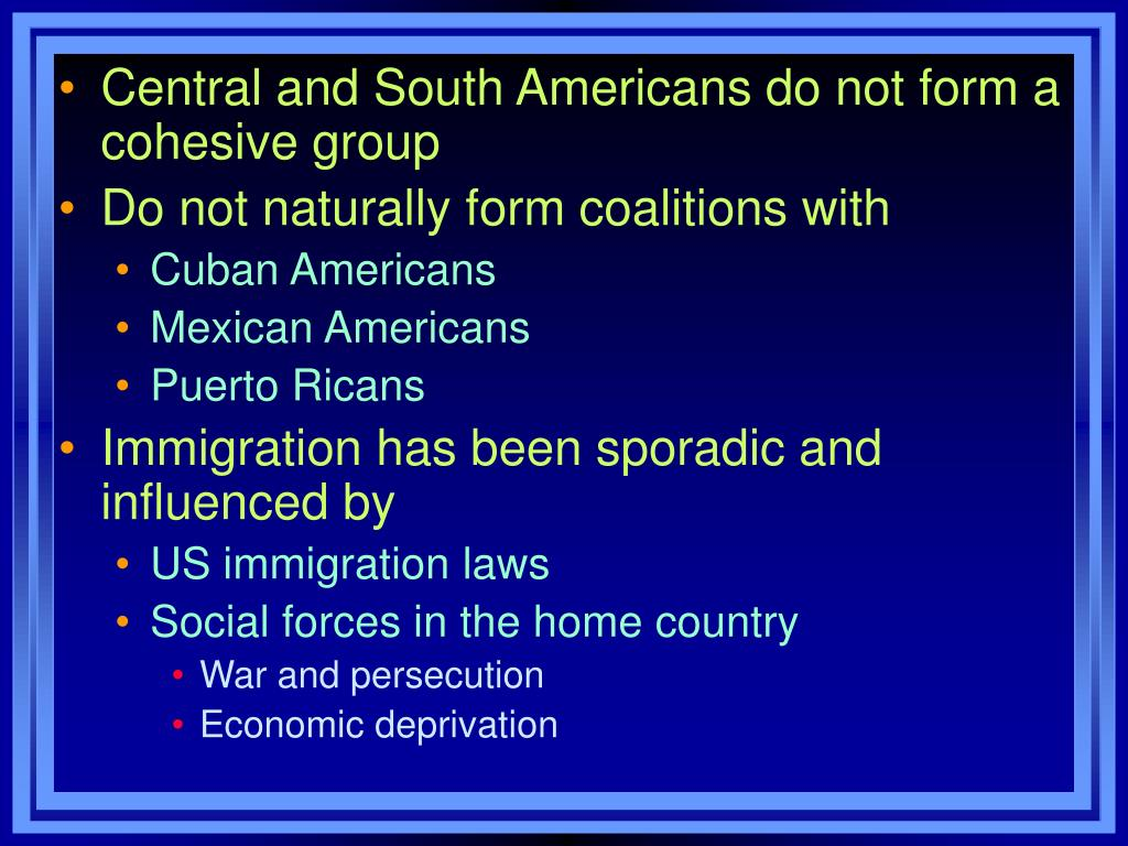 Central and South Americans do not form a cohesive group