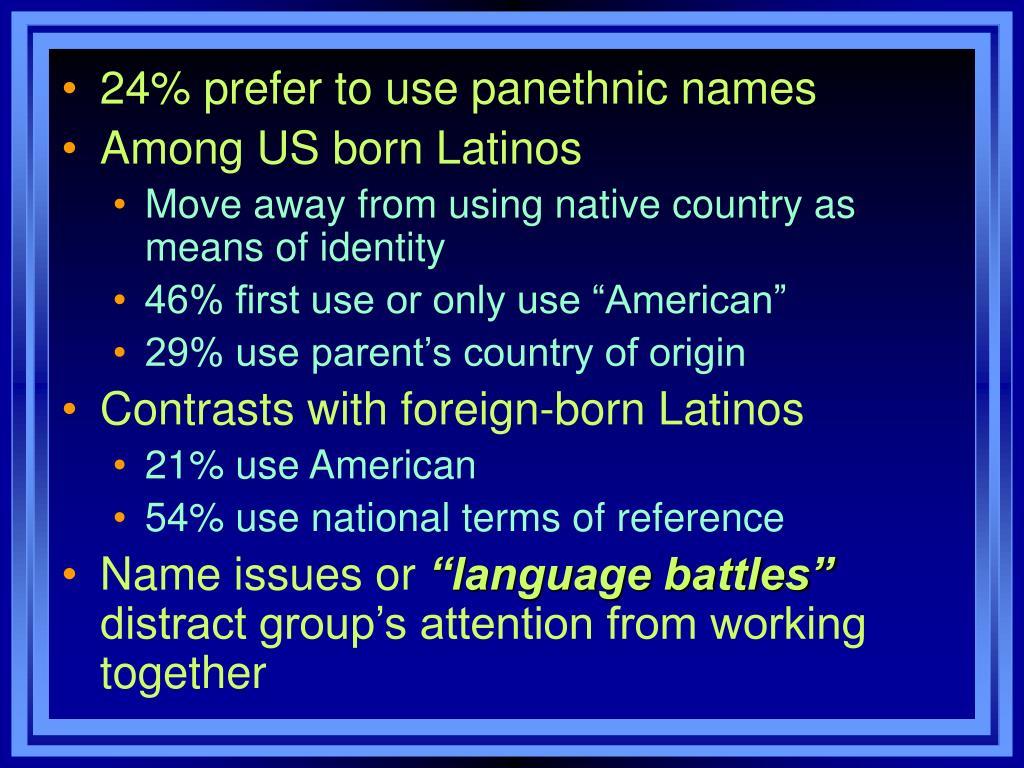 24% prefer to use panethnic names