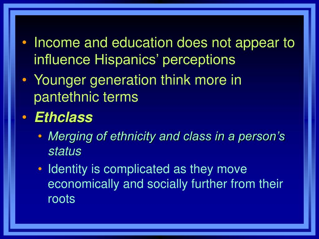Income and education does not appear to influence Hispanics' perceptions