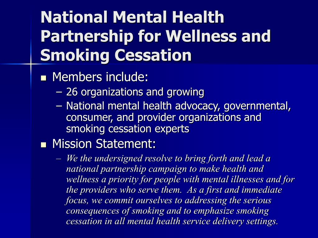 National Mental Health Partnership for Wellness and Smoking Cessation