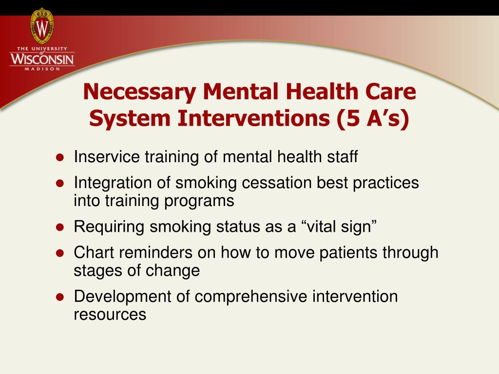 Necessary Mental Health Care System Interventions (5 A's)