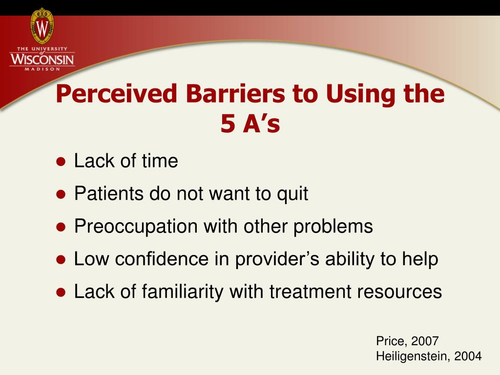 Perceived Barriers to Using the 5 A's
