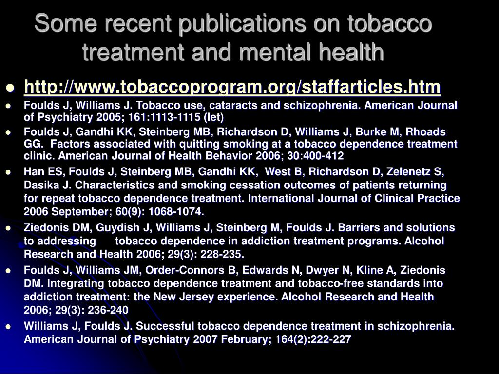 Some recent publications on tobacco treatment and mental health