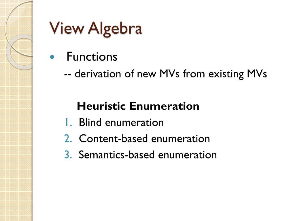 View Algebra