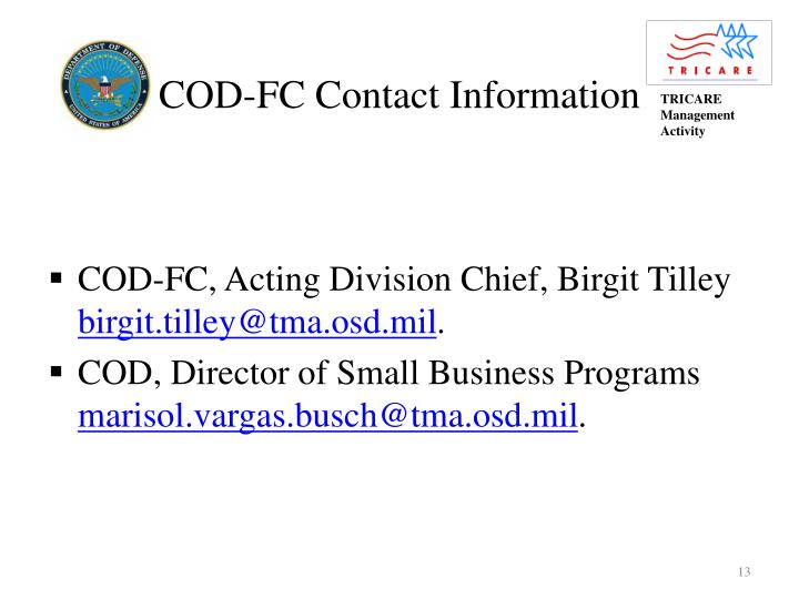 COD-FC Contact Information