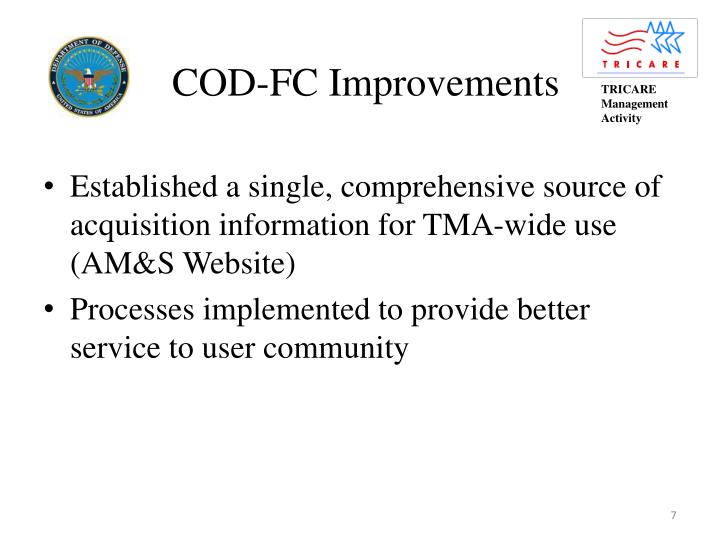 COD-FC Improvements