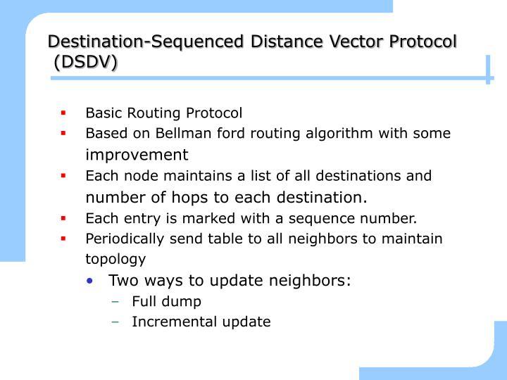 Destination-Sequenced Distance Vector Protocol