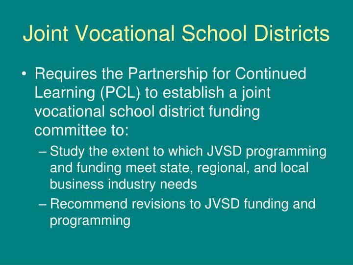 Joint vocational school districts