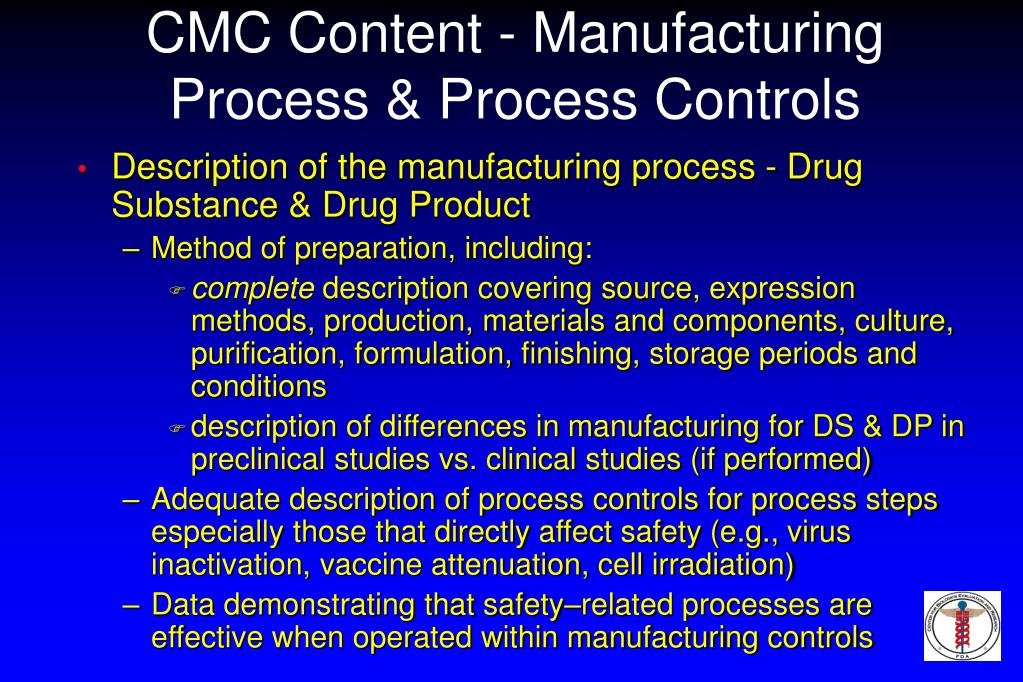 CMC Content - Manufacturing Process & Process Controls