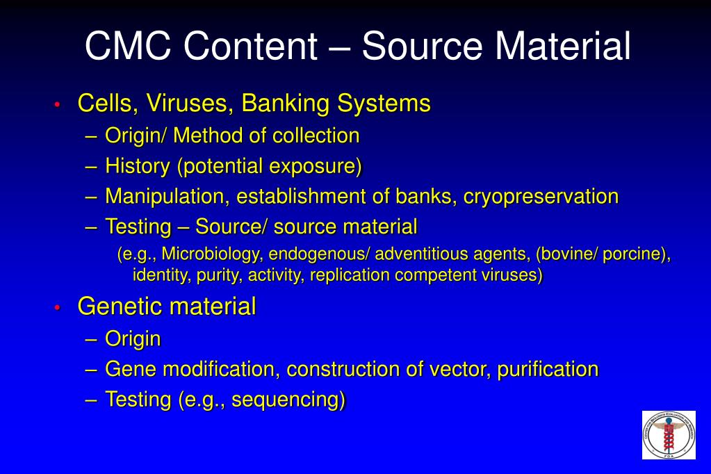 CMC Content – Source Material