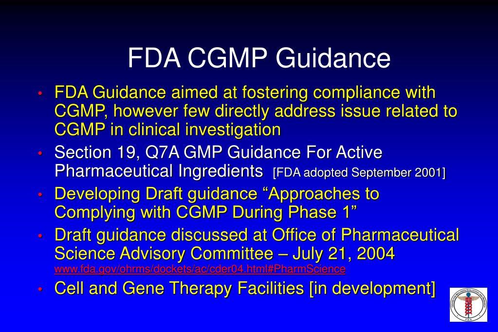 FDA CGMP Guidance