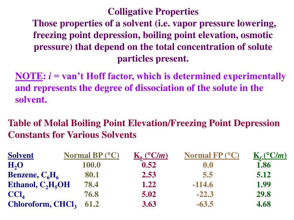 PPT - COLLIGATIVE PROPERTIES PowerPoint Presentation, free ...