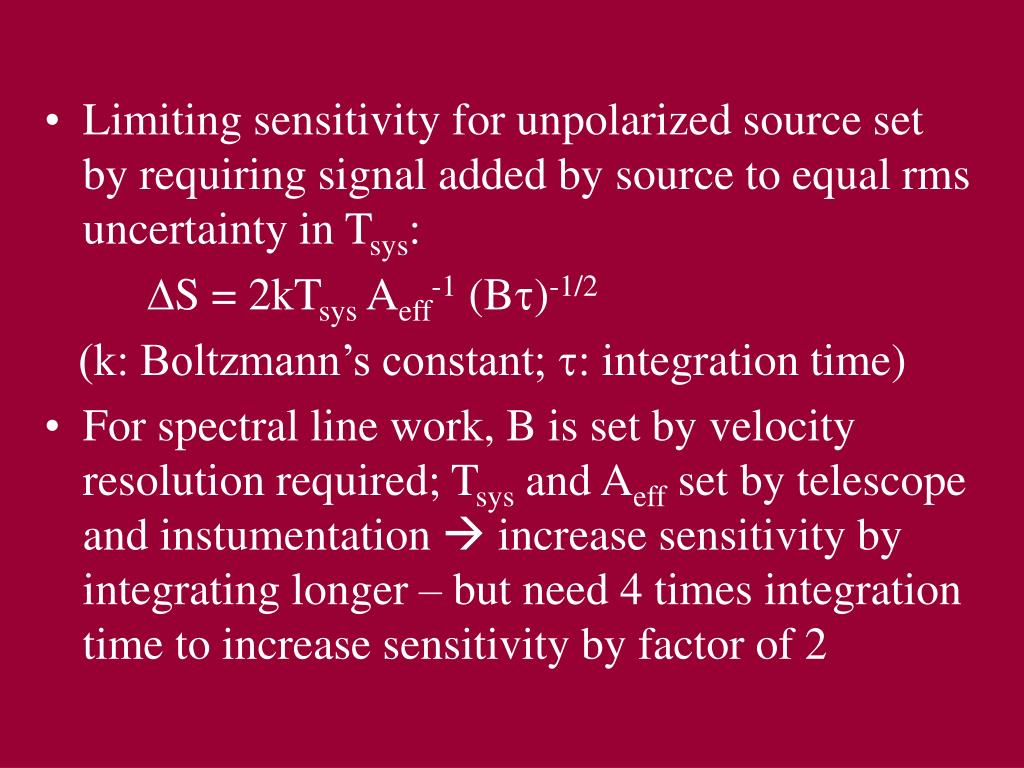 Limiting sensitivity for unpolarized source set by requiring signal added by source to equal rms uncertainty in T