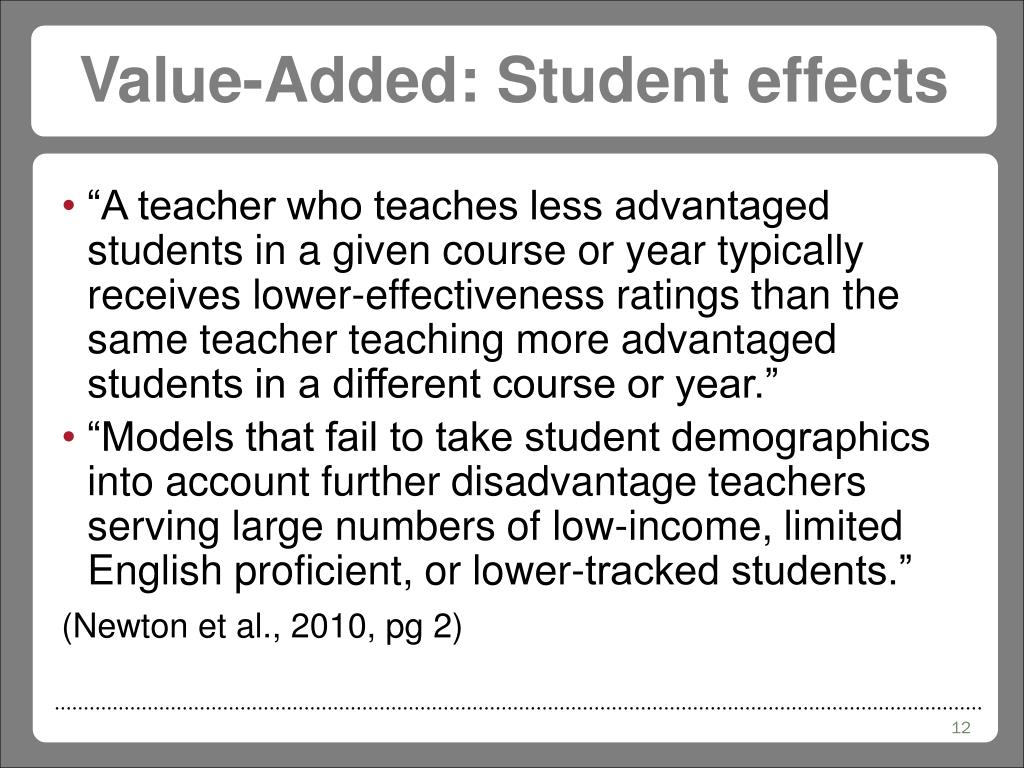 Value-Added: Student effects