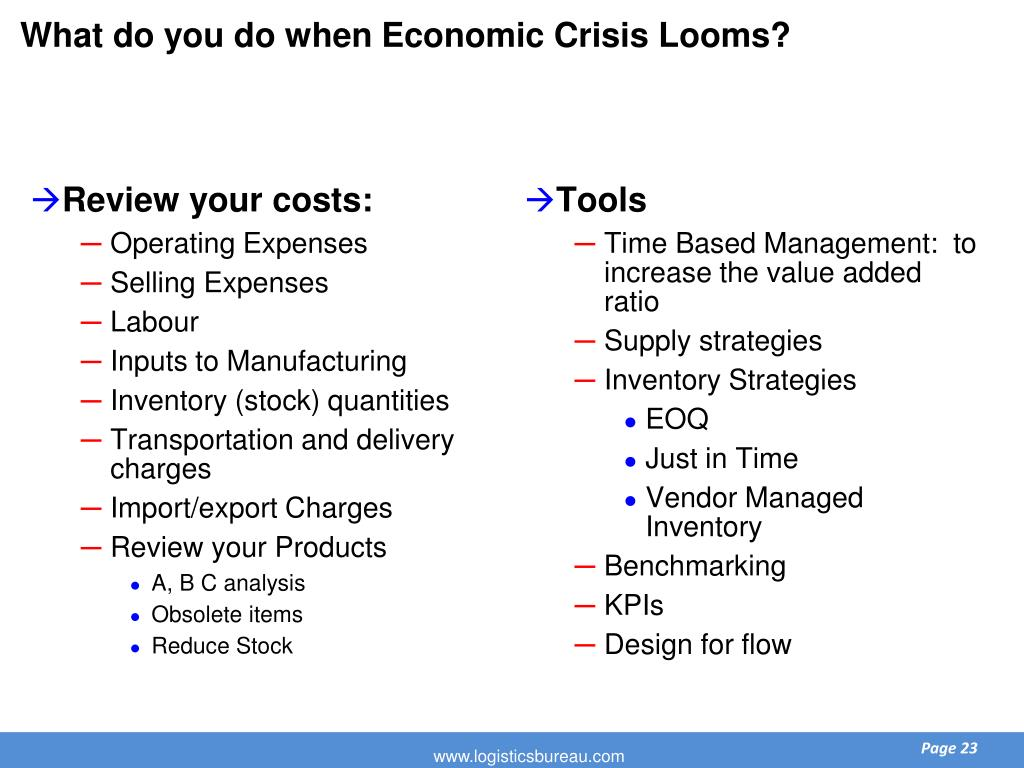 What do you do when Economic Crisis Looms?