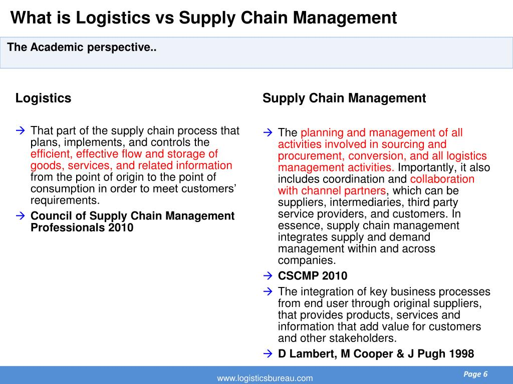 What is Logistics vs Supply Chain Management