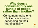 why does a consumer buy one bundle of goods rather than another