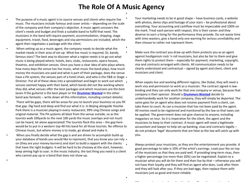 the role of a music agency l.