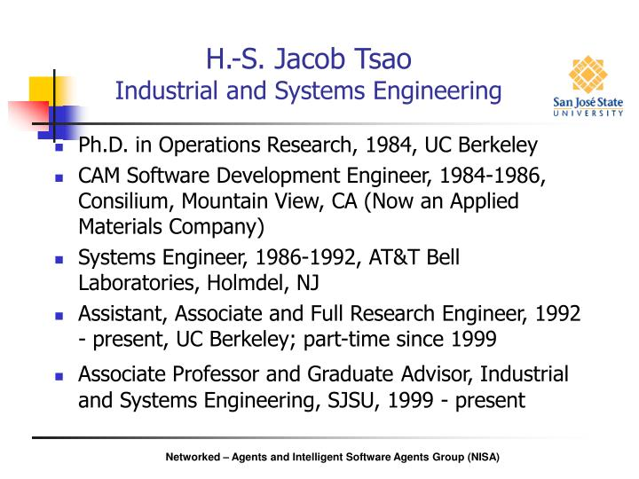 H s jacob tsao industrial and systems engineering