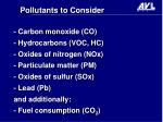 pollutants to consider