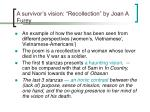a survivor s vision recollection by joan a furey