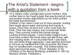 the artist s statement begins with a quotation from a book