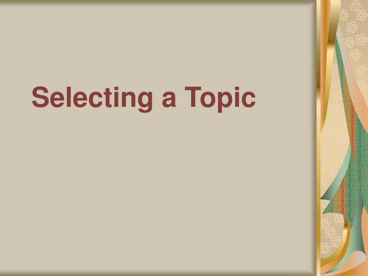 selecting a topic n.