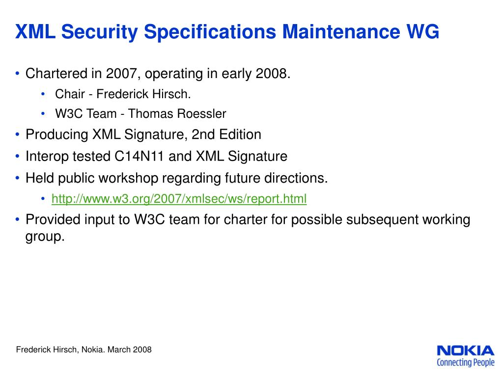 XML Security Specifications Maintenance WG