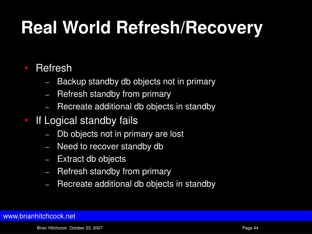 Real World Refresh/Recovery