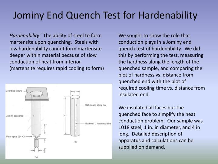 Jominy End Quench Test for Hardenability