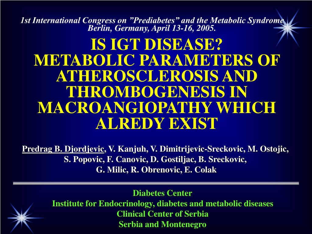 """1st International Congress on """"Prediabetes"""" and the Metabolic Syndrome"""