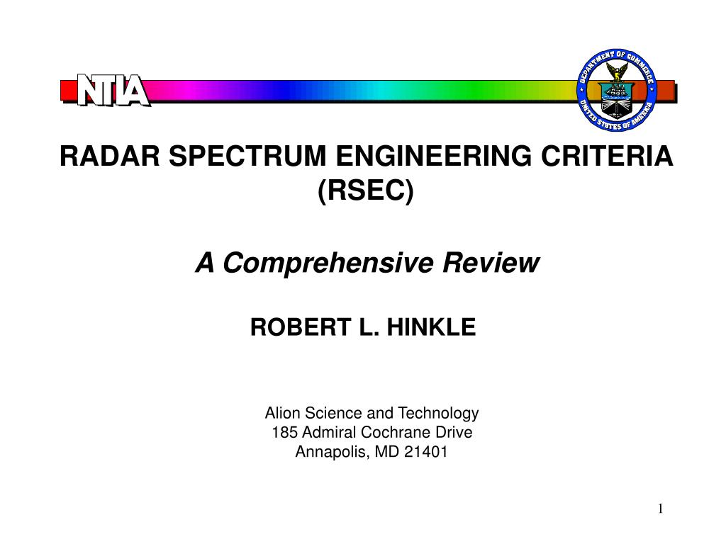 RADAR SPECTRUM ENGINEERING CRITERIA