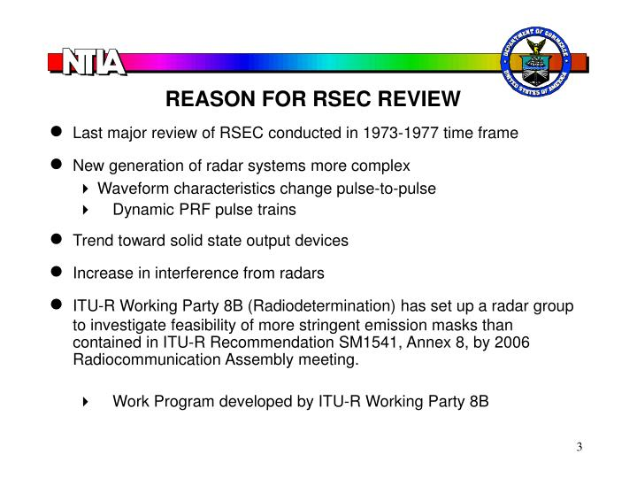 REASON FOR RSEC REVIEW