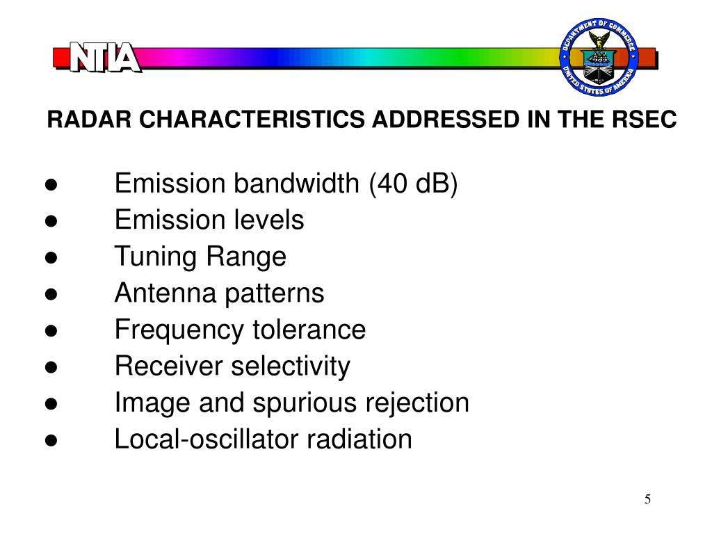 RADAR CHARACTERISTICS ADDRESSED IN THE RSEC