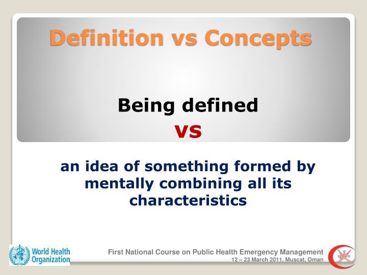 Definition vs concepts